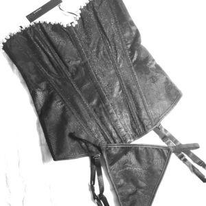 New corset black studded  & thong S/M Lingerie